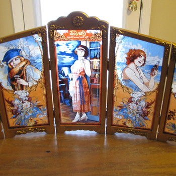 Coca Cola Four Seasons 5 stained glass panels - 1986