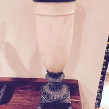 stone and bronze lamps  2 foot tall 25 lb