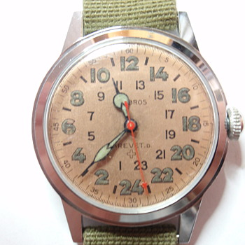 50's or 60's Helbros Military 24 hour watch