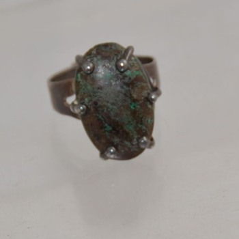 Prong Set Sterling Turquoise Ring Mexico - Unknown Turqoise