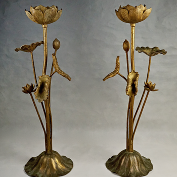 Pair of Large Gilt Metal Lotus Flower Lamp Bases - Lamps