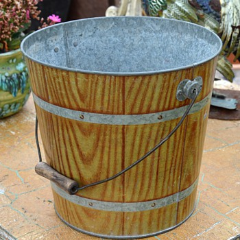 Grain Painted Toleware Pail - Tools and Hardware