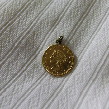 Family Heirloom ~ 1878 2 1/2 Dollar Golden Eagle Coin Pendant - US Coins
