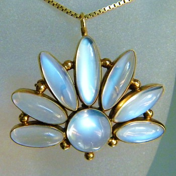 Vintage Deco Ceylon Moonstone Sun 14k Rose Gold Pendant Brooch - Fine Jewelry