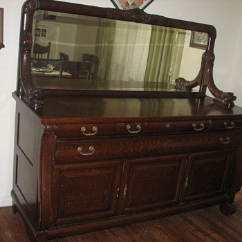 antique oak buffet and server with carved sea creatures - Furniture
