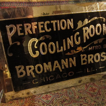 Early 1920s Reverse Glass Cooling Room sign