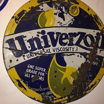Lrg old Univerzoil super grade oil sign - Petroliana