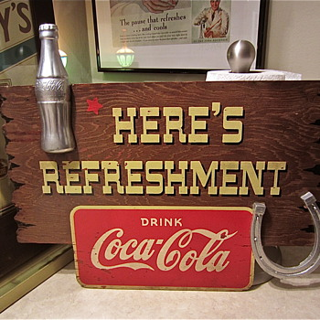 "1940s Coca Cola Kay wooden sign ""HERE'S REFRESHMENT"""