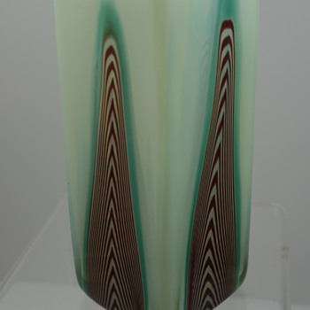 Uranium Glass vase, pulled stripes, maker unknown - Art Glass