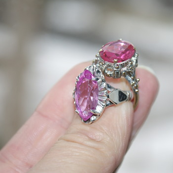 Two Rings with Pink Stones