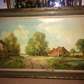Vintage Antique Original Oil Painting By H.Brent.  French Countryside 120x70cm - Visual Art