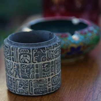 Cup Carved with Mayan Influence - missing cap - Visual Art