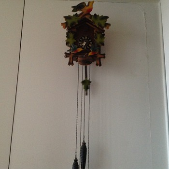 1950's West German  3 bird colourful cuckoo clock.