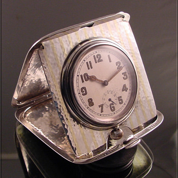 Sterling Silver & 18k Gold Longines Travel Clock With Wind Indicator