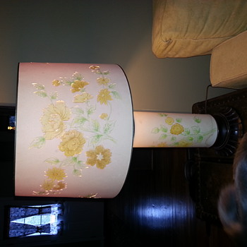 table lamp with pressed floral design