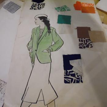 1960's Sakowitz Clothes Designs Original Drawings - Visual Art