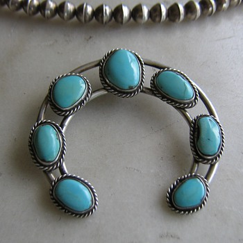 "Navajo turquoise horseshoe ""naja"" from squash blossom necklace - Native American"