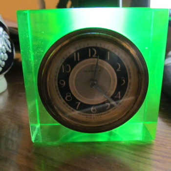 Newhaven Clock Mounted in Uranium Glass   - Glassware