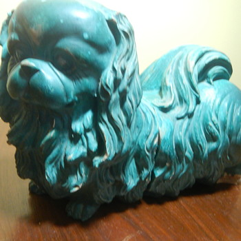 Green Pekingese Dog Pottery Book Ends