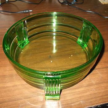 Very Art Deco Heavy Emerald Green Uranium Footed Bowl Mystery