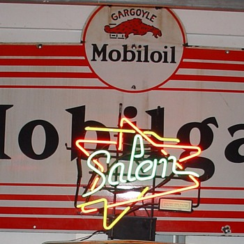 Gargoyle Mobiloil Mobilgas...Porcelain Sign...1929...Three Colors