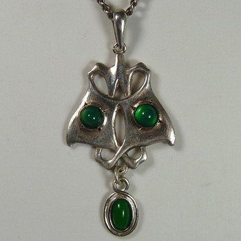 Liberty & Co Silver & Chrysoprase Butterfly Pendant by Archibald Knox - Arts and Crafts