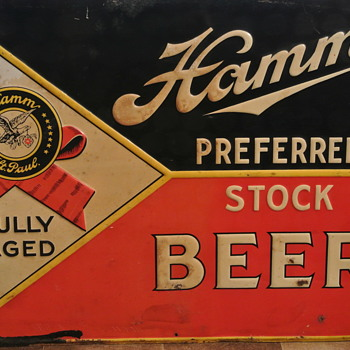 Vintage Hamm's Preferred Stock Beer Sign - Breweriana