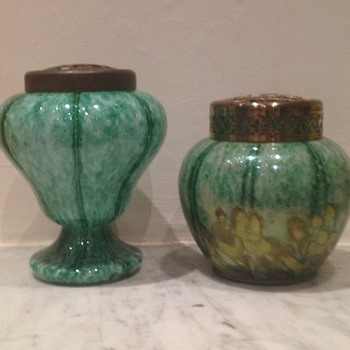 Two aventurine vases