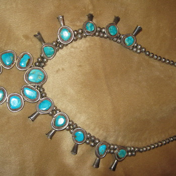 Antique Sterling Silver/Turquoise Navajo Squash Blossom Necklace - Fine Jewelry