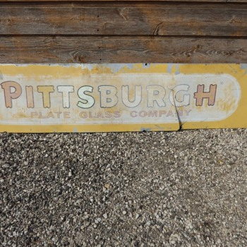 Vintage Pittsburgh Plate Glass Co. 6' metal sign