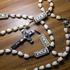 Antique Catholic rosary, carved ivory