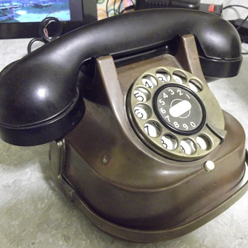 Old Bell Telephone with Brass Handle, Brass Dial - Telephones