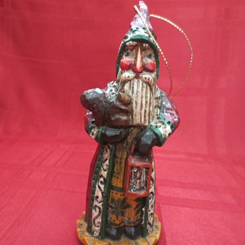 carved wood Santa ornament