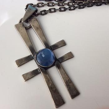Silver modernist pendant