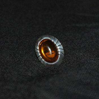 Vintage Sterling Amber Ring - Fine Jewelry
