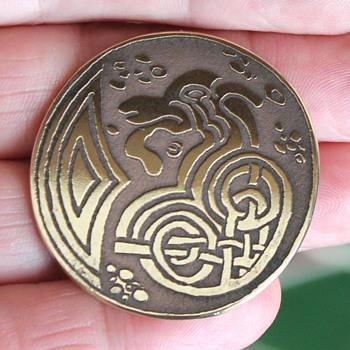 Art Nouveau (?) Celtic / Danish dragon pin - Costume Jewelry