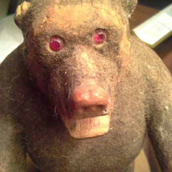 Hand carved bear with rhinestone eyes - Folk Art