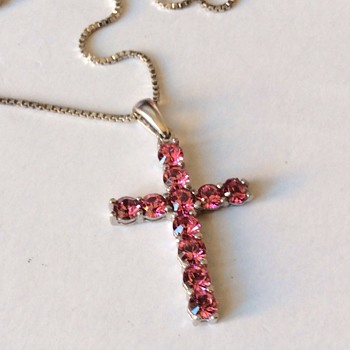 Vintage pink stone cross