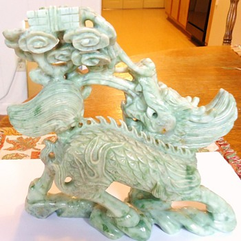 Qilin from Qing Dynasty, Jade 2.8 pounds, and Cherub holding money sack jadeite 9.3 ounces - Asian