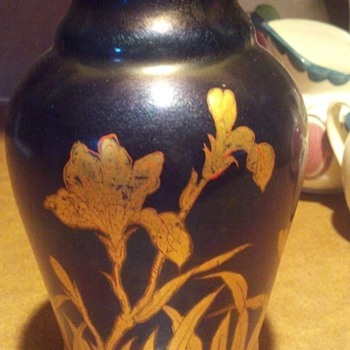 Cobalt Blue Golden Iris Vase - Art Glass