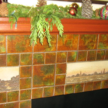 Happy Holidays! 1920's art tile fireplace in my bldg's lobby - Arts and Crafts