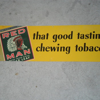 Red Man Tobacco Sign - Tobacciana