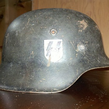 Antique Military SS Helmet.  Handwritten KIA Great Condition