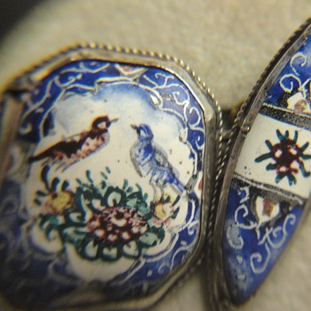 Unique Vintage Silver Persian Enamel Cufflink  - Victorian Era
