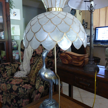 New Bird Table Lamp with Capiz Shade