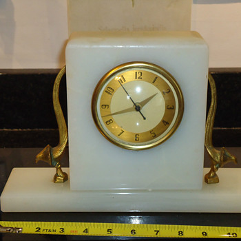 1928 - 1931 Whitehall - Hammond Art Deco White Marble Mantel Clock with Deco Birds of Paradise