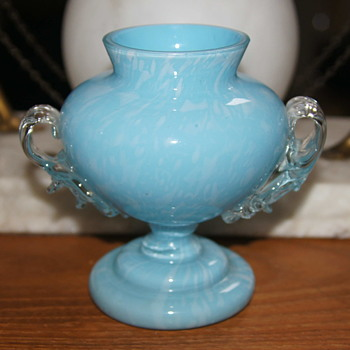 Blue Variegated Welz Vase - A Short Variation of the Trophy Vase Form