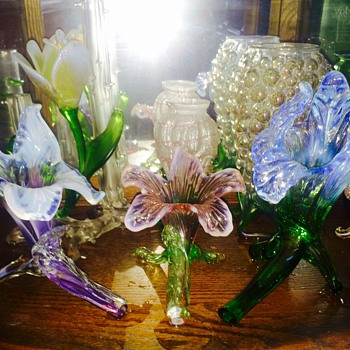 "Antique Kralik Floriforms ""Garden of Glass"" Vases - Art Glass"