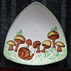 "Holland Mold Decorative Plate Triangle Design ""Frogs on Mushrooms"" by, SUE"
