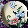 Japanese Royal Kaga Nippon Porcelain Serving Plate / Hand Painted Poppies and 24 kt trim / Circa 1900-1940